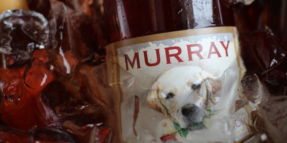 The original Murray labels featured a drawing of a yellow lab named Murray with a red rose in his mouth.